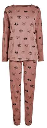 Next Womens Rose Animal Faces Long Sleeve Cotton Pyjamas