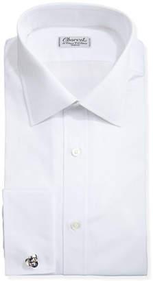 Charvet Solid Poplin French-Cuff Shirt, White