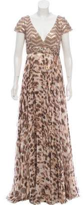 Alberto Makali Sequin-Accented Printed Gown w/ Tags