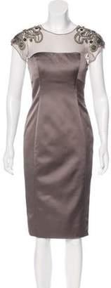 Lela Rose Satin Embellished Dress Rose Satin Embellished Dress