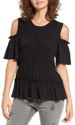 Women's Love, Fire Ruched Cold Shoulder Tee $35 thestylecure.com