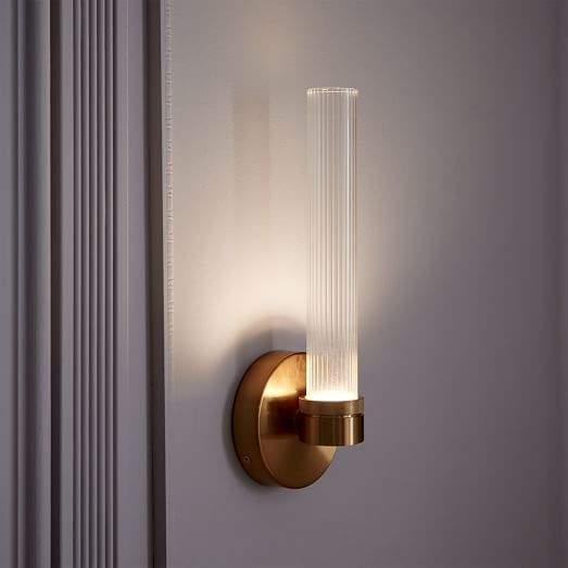Fluted Cylinder LED Sconce