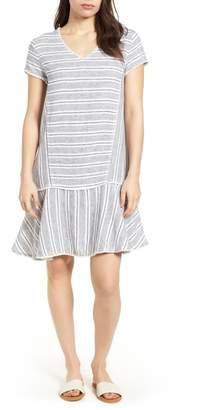 Caslon R R) Linen Blend Stripe Dress (Regular & Petite)
