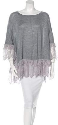 Thomas Wylde Cashmere Lace-Trimmed Top