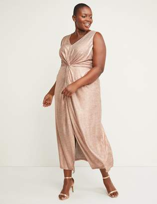Lane Bryant Foil Knot-Waist Maxi Dress
