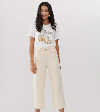 Monki organic cotton straight leg cropped jeans in off white