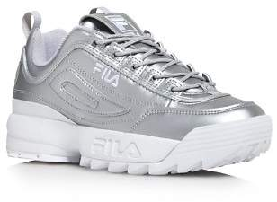 Fila Women's Disruptor II Premium Lace Up Metallic Leather Dad Sneakers