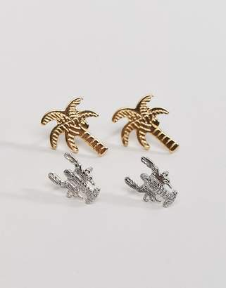 NY:LON Palm and Lobster Earring Set