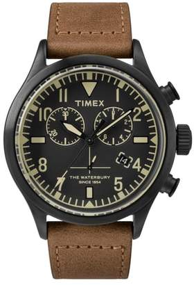 Todd Snyder TIMEX X Timex(R) x The Military Chronograph Leather Strap Watch Set, 43mm