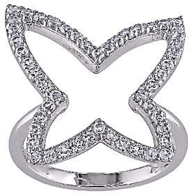 QVC 1.5cttw White Topaz Butterfly Ring, Sterling