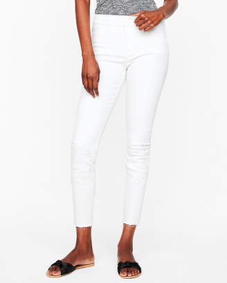 Express Mid Rise White Embroidered Stretch Ankle Jean Leggings
