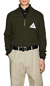 Gosha Rubchinskiy Men's Patch-Detailed Wool Quarter-Zip Sweater-Olive