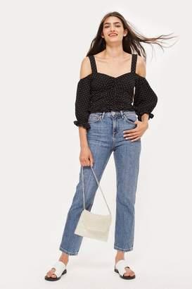Topshop PETITE Mid Blue Straight Leg Jeans