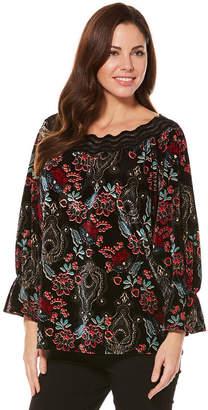 Rafaella 3/4 Sleeve Bell Sleeve Floral Peasant Top
