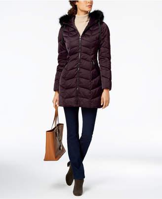 T Tahari Faux-Fur-Trim Puffer Coat