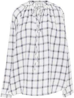 Lee MATHEWS Nellie Checked Linen Long Sleeve Top