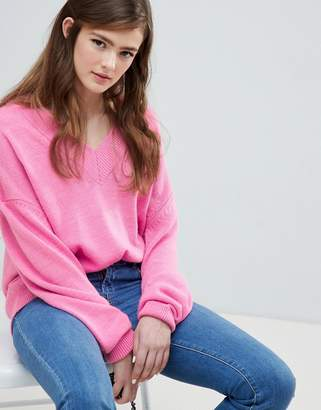 Asos Design DESIGN oversized jumper with deep v neck