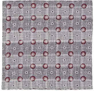 Brunello Cucinelli Men's Medallion-Print Linen-Cotton Pocket Square