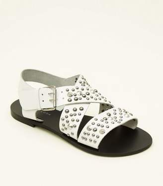 02eba287a18a9 New Look White Leather Studded Strappy Flat Sandals