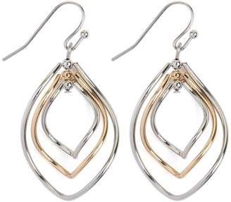 Riah Fashion Wire-Hammered Marquise-Hook-Earrings