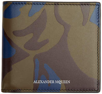 Alexander McQueen Burgundy Military Camo Bifold Wallet