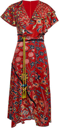Peter Pilotto Printed Silk Dress with Tassel Belt