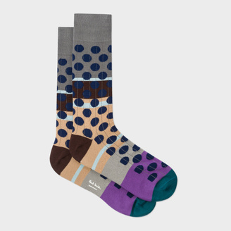 Men's Multi-Coloured Navy Spot Ribbed Socks $30 thestylecure.com