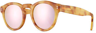Illesteva Leonard Mirrored Round Sunglasses, Blonde Havana/Rose