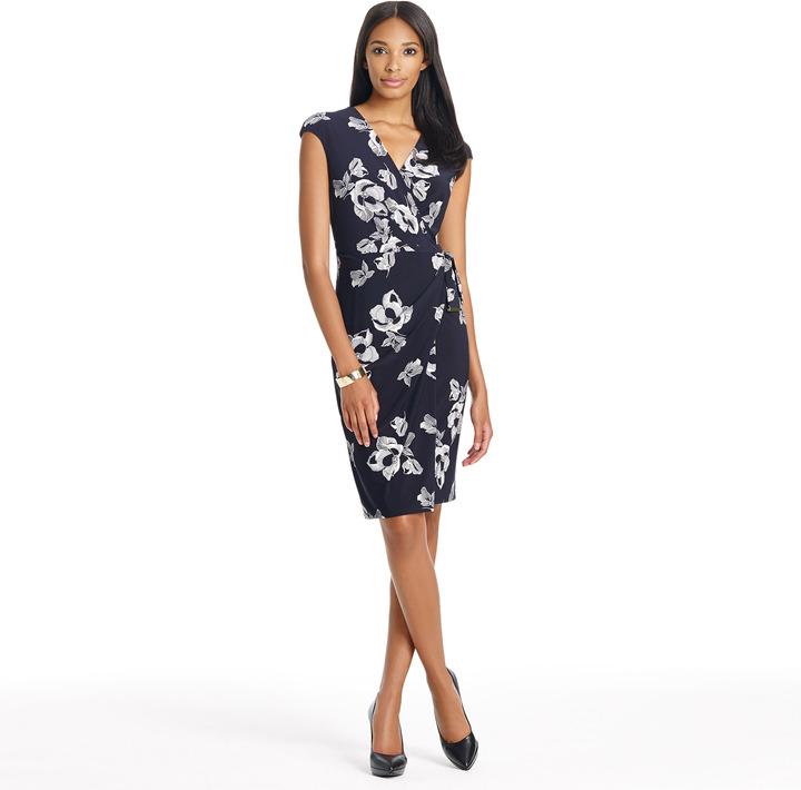 Jones New York Cap Sleeve Jersey Sarong Dress