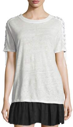 IRO Steiro Laced-Sleeve Linen Jersey Tee, Ecru