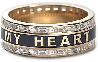 Foundrae Diamond True Love Promise Ring - Black Champlevé Enamel