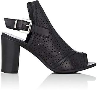 Barneys New York WOMEN'S PERFORATED LEATHER SLINGBACK SANDALS - BLACK SIZE 6