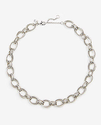 Ann Taylor Rope Chain Link Statement Necklace