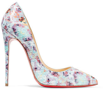 Christian Louboutin - Pigalle Follies 120 Printed Python Pumps - Sky blue $1,295 thestylecure.com