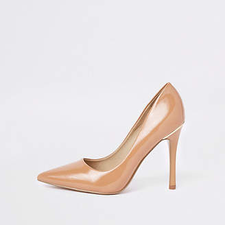 River Island Beige honey patent pointed pumps