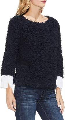 Vince Camuto Woven Cuff Popcorn Knit Top