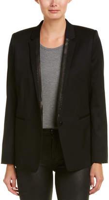 The Kooples Leather-Trim Wool-Blend Blazer
