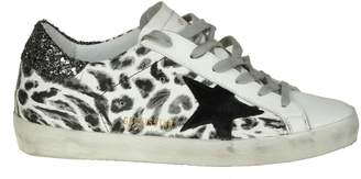 Golden Goose superstar Sneakers In White Leather With Leoparded Print