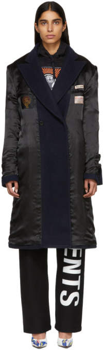 Black and Navy Oversized Inside Out Coat