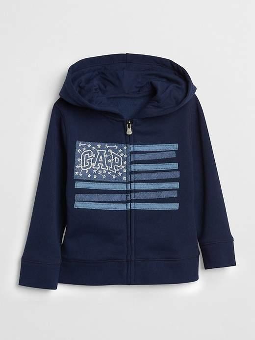 Denim Flag Zip Hoodie
