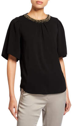 Halston Flowy Short-Sleeve Embellished Crewneck Top