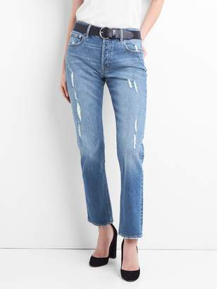 Gap Cone Denim Super High Rise Straight Jeans with Distressed Detail