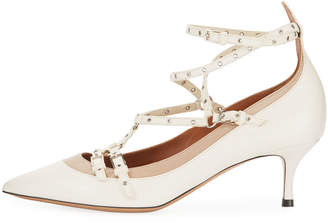 Valentino Kitten-Heel Strappy Leather Ankle-Wrap Pumps