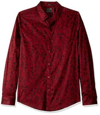 GUESS Men's Long Sleeve Luxe Floral Button Down Shirt