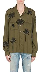 Amiri Men's Palm-Tree-Print Military Shirt - Olive