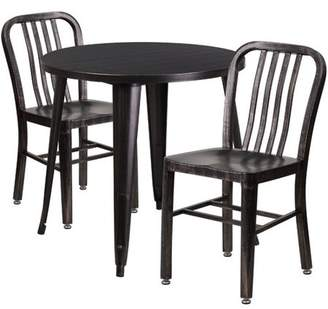Flash Furniture 30'' Round Black-Antique Gold Metal Indoor-Outdoor Table Set with 2 Vertical Slat Back Chairs