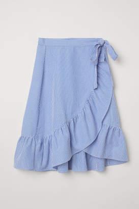 H&M Seersucker Wrapover Skirt - Blue