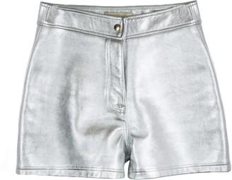 LIRA Paloma Silver Leather Shorts