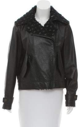 Chanel Tweed-Trimmed Leather Biker Jacket
