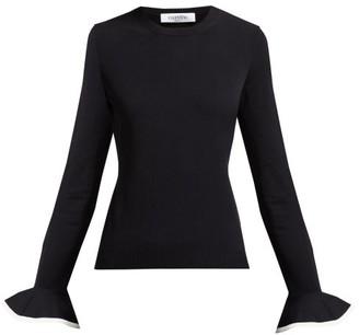 Valentino Fluted Sleeve Round Neck Sweater - Womens - Black White